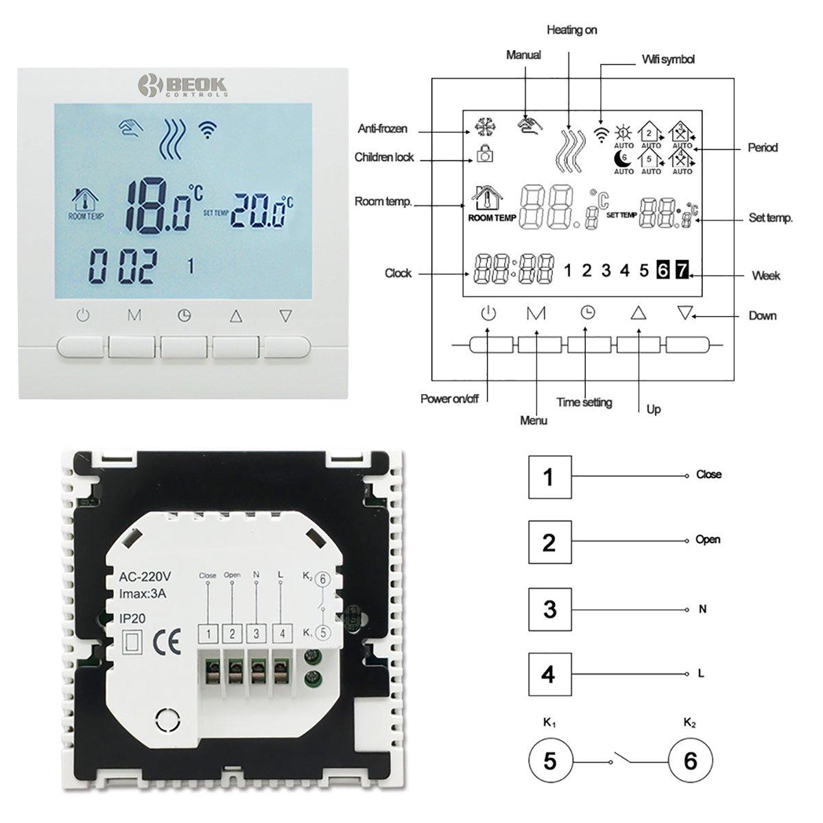 Beok BOT-313WiFi, schermo LCD, programmabile, regolatore della temperatura ambiente, applicazione gratuita Telecomando in linea tramite smartphone, ...