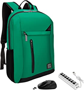Green Anti-Theft Laptop Backpack, USB Hub, Mouse for HP Pavilion, Envy, Stream, Chromebook Up to 15.6 inch