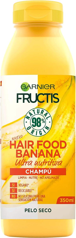 GARNIER Fructis Hair Food Champú Nutritivo de Banana para Pelo Seco - 350 ml