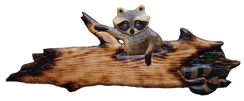 Amazon.com: raccoon in a log chainsaw cabin decor wall art wood