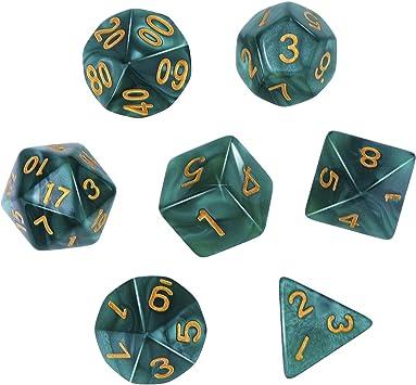 eBoot Dados Poliédricos Set de 7-Dados para Dungeons y Dragons con Bolsa Negra (Verde): Amazon.es: Juguetes y juegos
