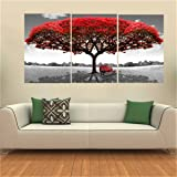 "KING DO WAY Set De 3 Parties ""Grand Arbre Rouge"" Impressions Sur Toile Murale Image Peinture Décor Maison Bureau Canvas Print Painting (Sans Cadre)-70cmX50cm"