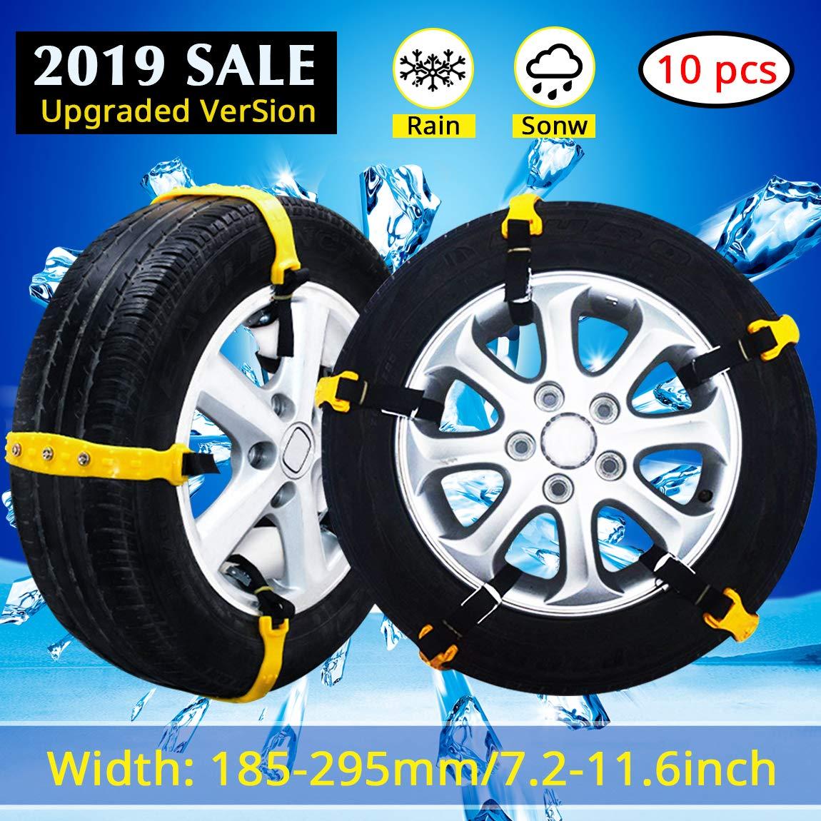 PrettyQueen Snow Chains for Cars Trucks Snow Tire Chains for SUV Adjustable Snow Tire Cable Mergency Car Chains 185-295mm/7.2-11.6''