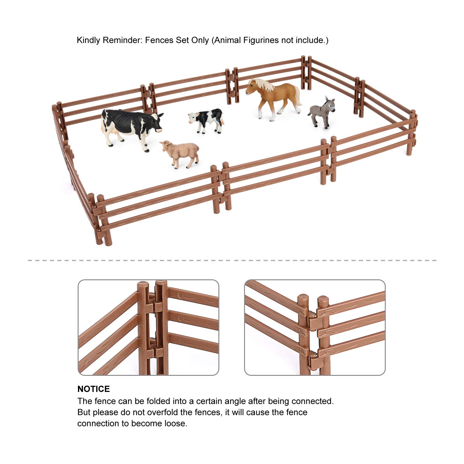 YUCAN 50PCS Horse Corral Fencing Accessories Playset Mini Plastic Garden Fence Toys Farm Animals Horses Figurines,Fence Panels Cake Toppers for Kids