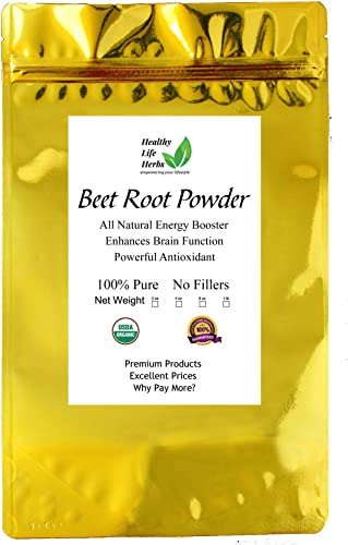 Healthy Life Herbs Organic Beet Root Powder – All-Natural Energy Booster – Enhances Brain Function – 8 Ounce