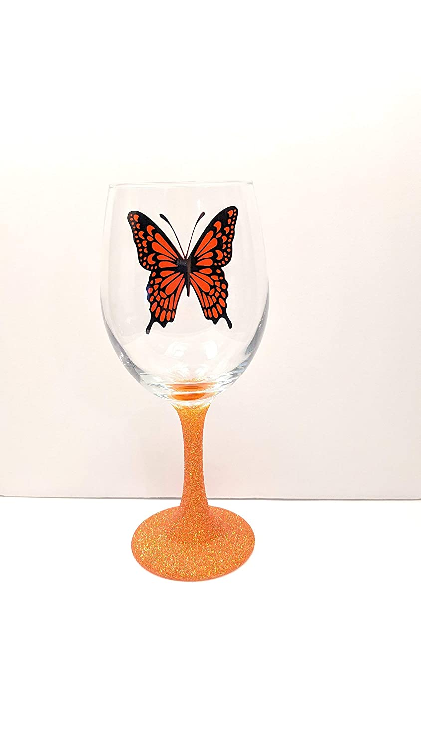 Butterfly Glass Monarch Gift Butterfly Decor Monarch Butterfly Glitter Stem Or Stemless Wine Glass Wine Glass With Butterfly Butterfly Gift Butterfly Gift Butterfly Wine Glass