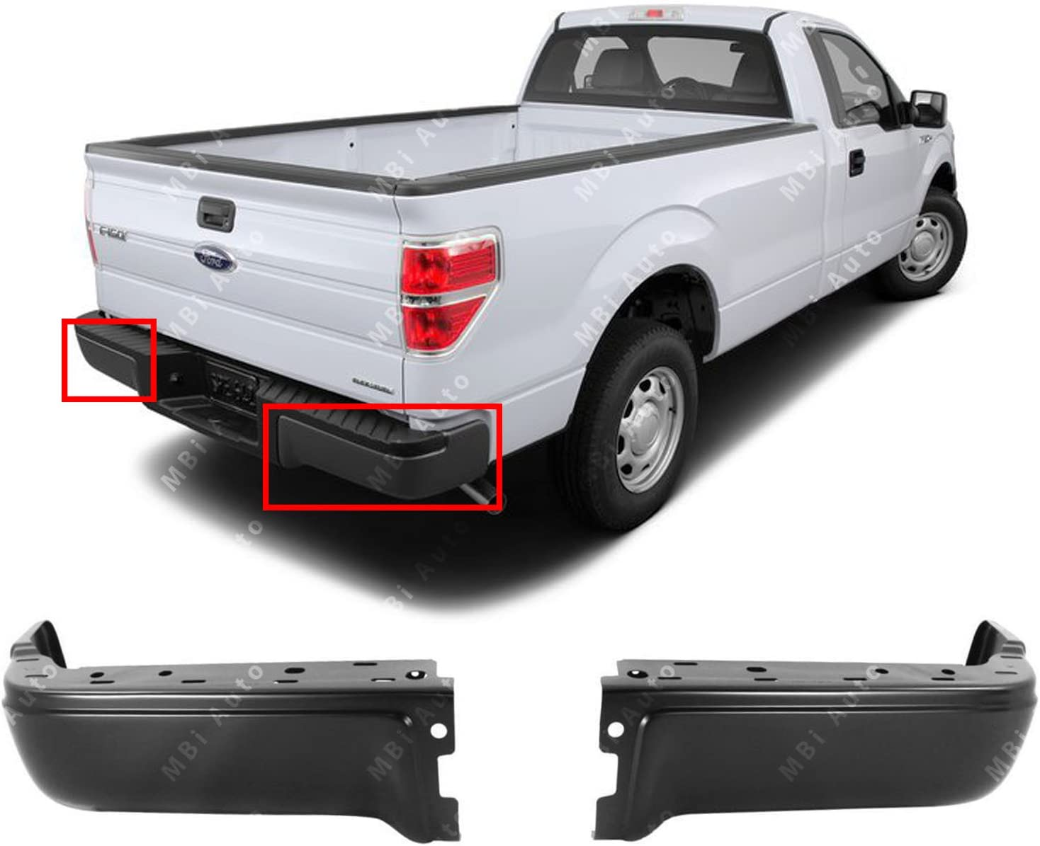 BUMPERS THAT DELIVER FO1102375 Primered Steel Pair of Left /& Right Rear Bumper Ends for 2009-2014 Ford F-150 Pickup 09-14