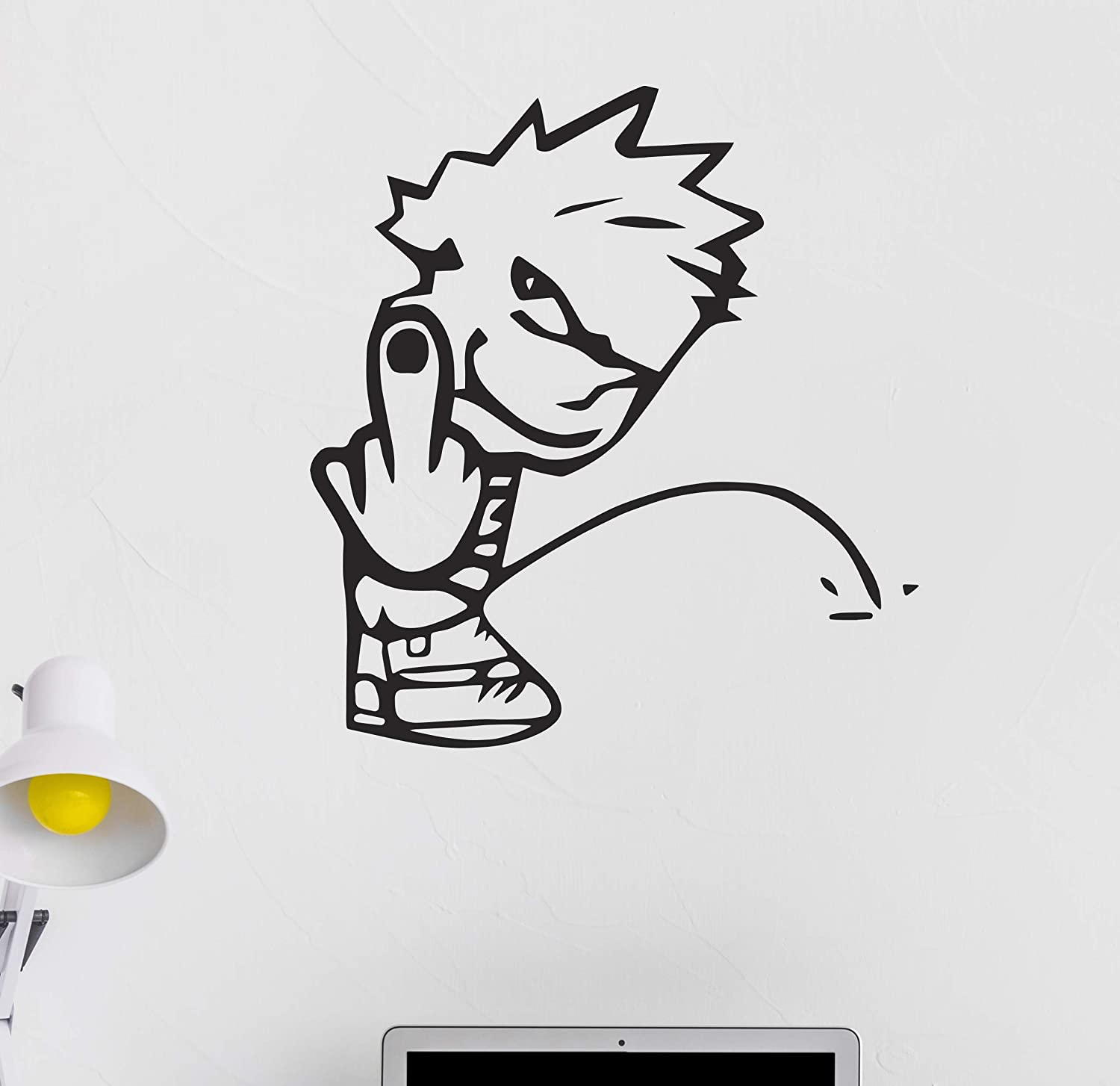 "Calvin Middle Finger Pee On Wall Decal - Peeing on Finger Black Design Room Decoration CG1909 (36"" Width x 36"" Height)"