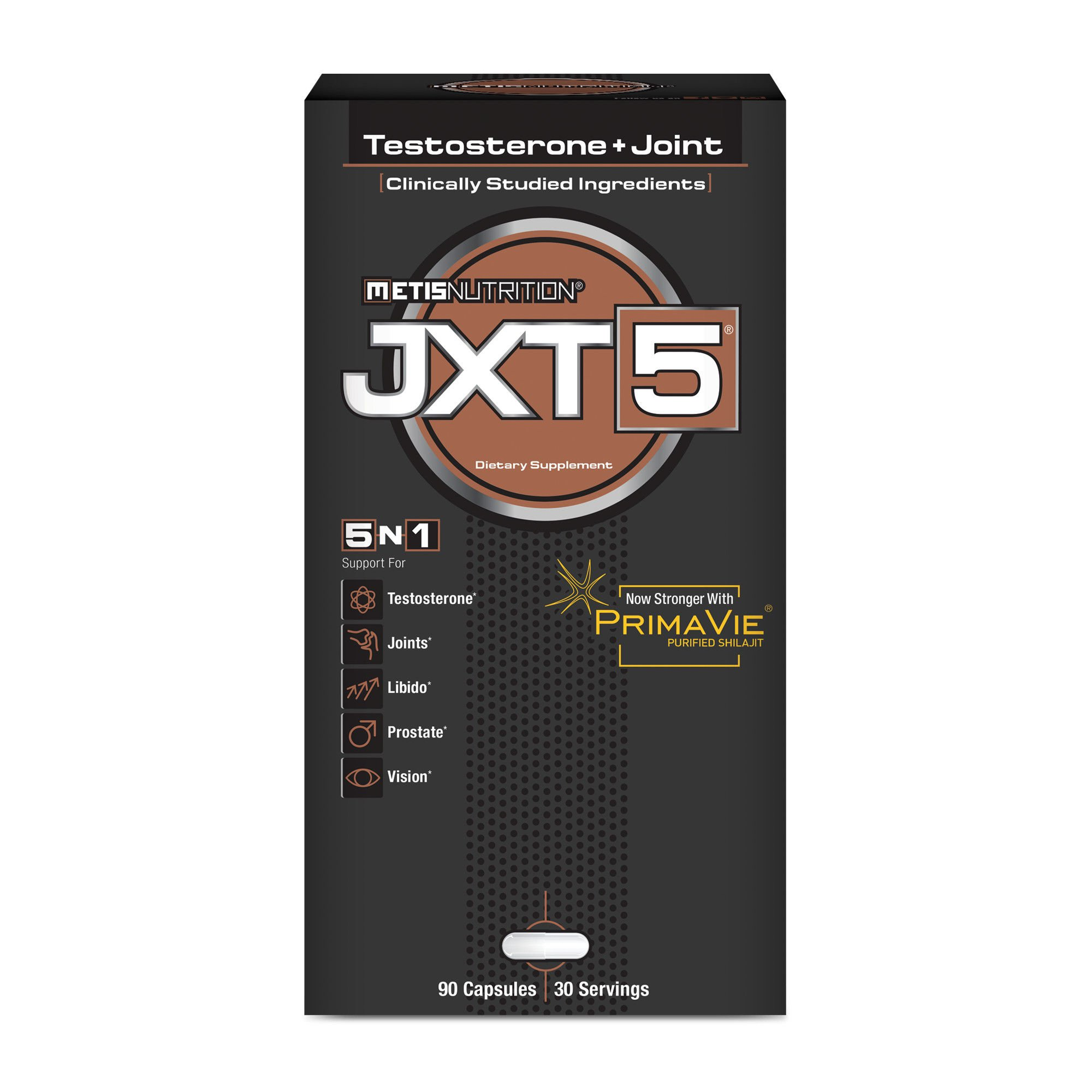 Metis Nutrition JXT5-5-in-1 Men's Health Supplement to Support Testosterone, Joint Health, Libido, Prostate and Vision - Improve Energy, Fitness and Well-Being - 90 Capsules