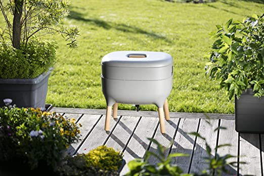 Compostador de diseño, compostador de gusano, Gris: Amazon ...