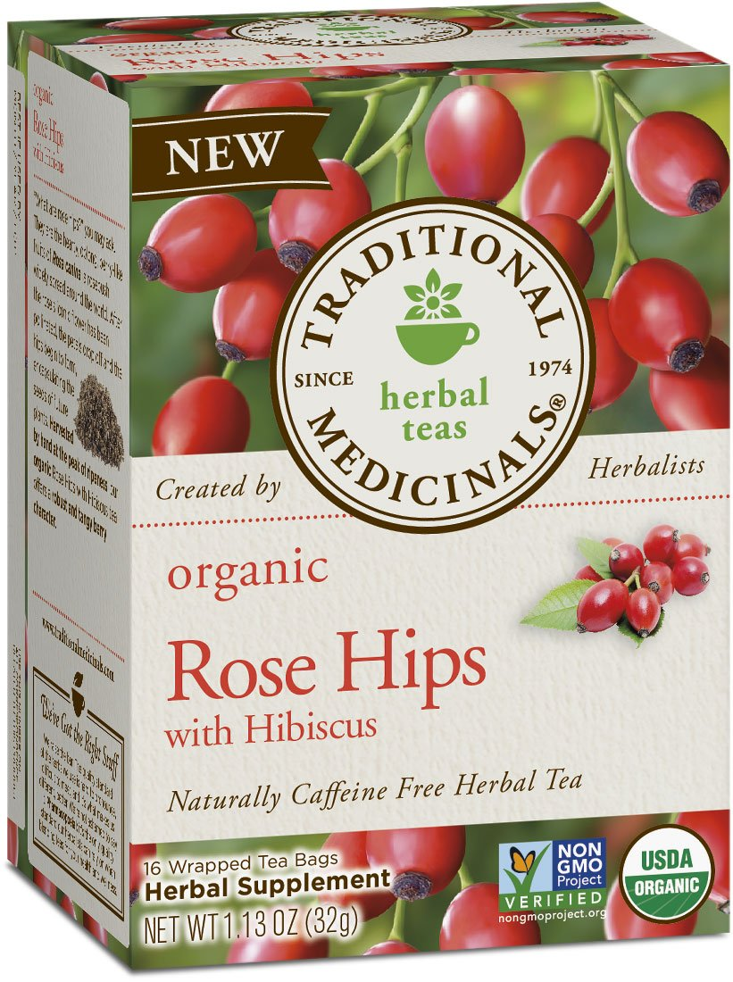 Traditional Medicinals Organic Rose Hips with Hibiscus Herbal Leaf Tea, 16 Tea Bags (Pack of 6)