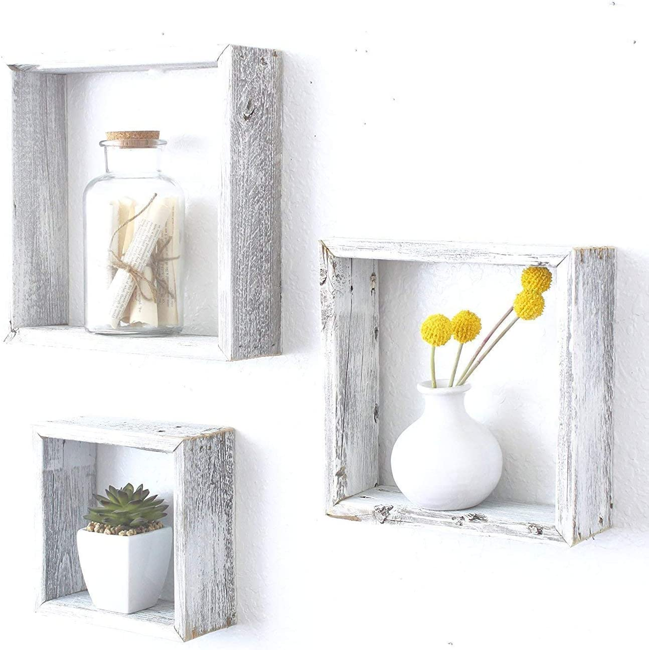BarnwoodUSA Whitewash Rustic Shelves, Square Floating Wood Shadowbox, Home Decor, Set of 3