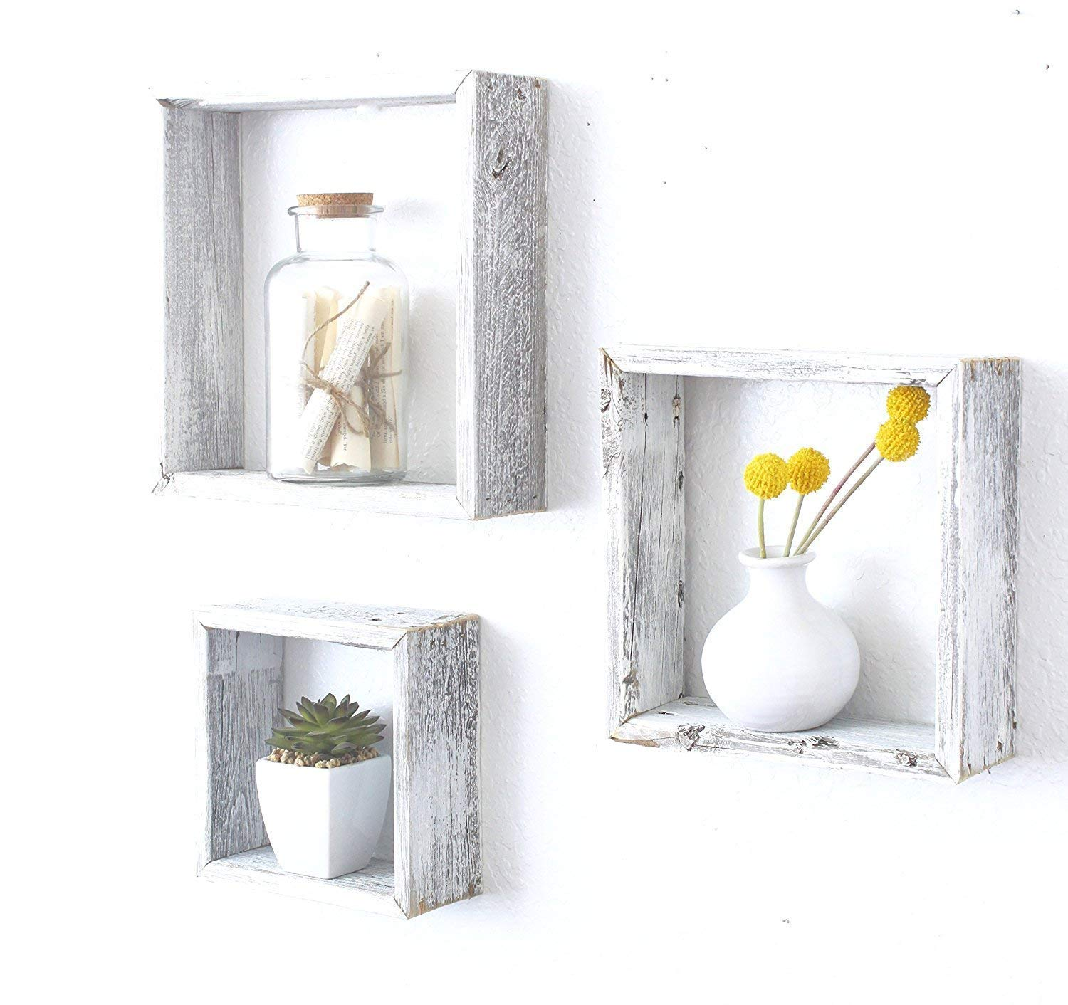 BarnwoodUSA Whitewash Rustic Shelves, Square Floating Wood Shadowbox, Home Decor, Set of 3 by BarnwoodUSA