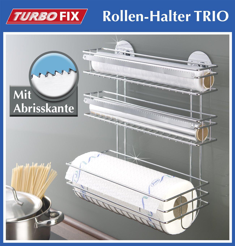 Wenko 3 in1 Küchenrollenhalter Turbo Fix, Wandrollenhalter ...