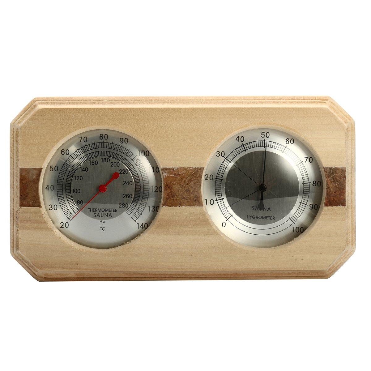 INNI Wooden Sauna Hygrothermograph Thermometer Hygrometer Sauna Room Accessory
