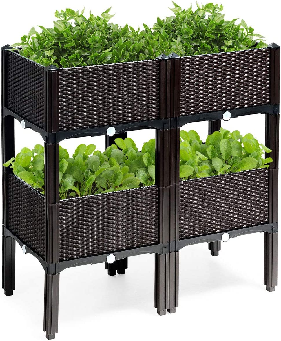 Giantex Set of 4 Raised Garden Bed kits, Plastic Elevated Garden beds with Brackets for Flowers Vegetables, Outdoor Indoor Planting Box Container for Garden Patio Balcony Restaurant, Easy Assembly (4)