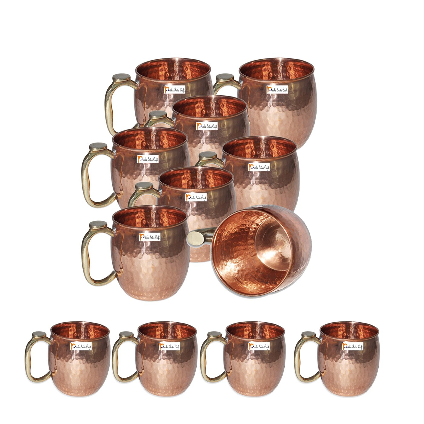 Set of 12 - Prisha India Craft ® Copper Mug for Moscow Mules 550 ML / 18 oz Pure Copper Mug Mule Cup, Moscow Mule Cocktail Cup, Copper Mugs, Cocktail Mugs