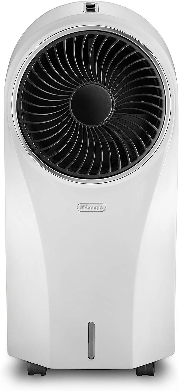 De'Longhi EV250.WH Climatizador Evaporativo con Ionizador y Filtro Antipolvo, Depósito de 4.5 L con 6 h de Autonomía, Protección ipx4, Pantalla Led, Mando a Distancia, Refrigeración Natural, Blanco