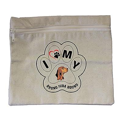 "Canvas Zipper Pouch Bag 10""X12"" I Paw My Bruno Jura Hound Dog Style In Print"
