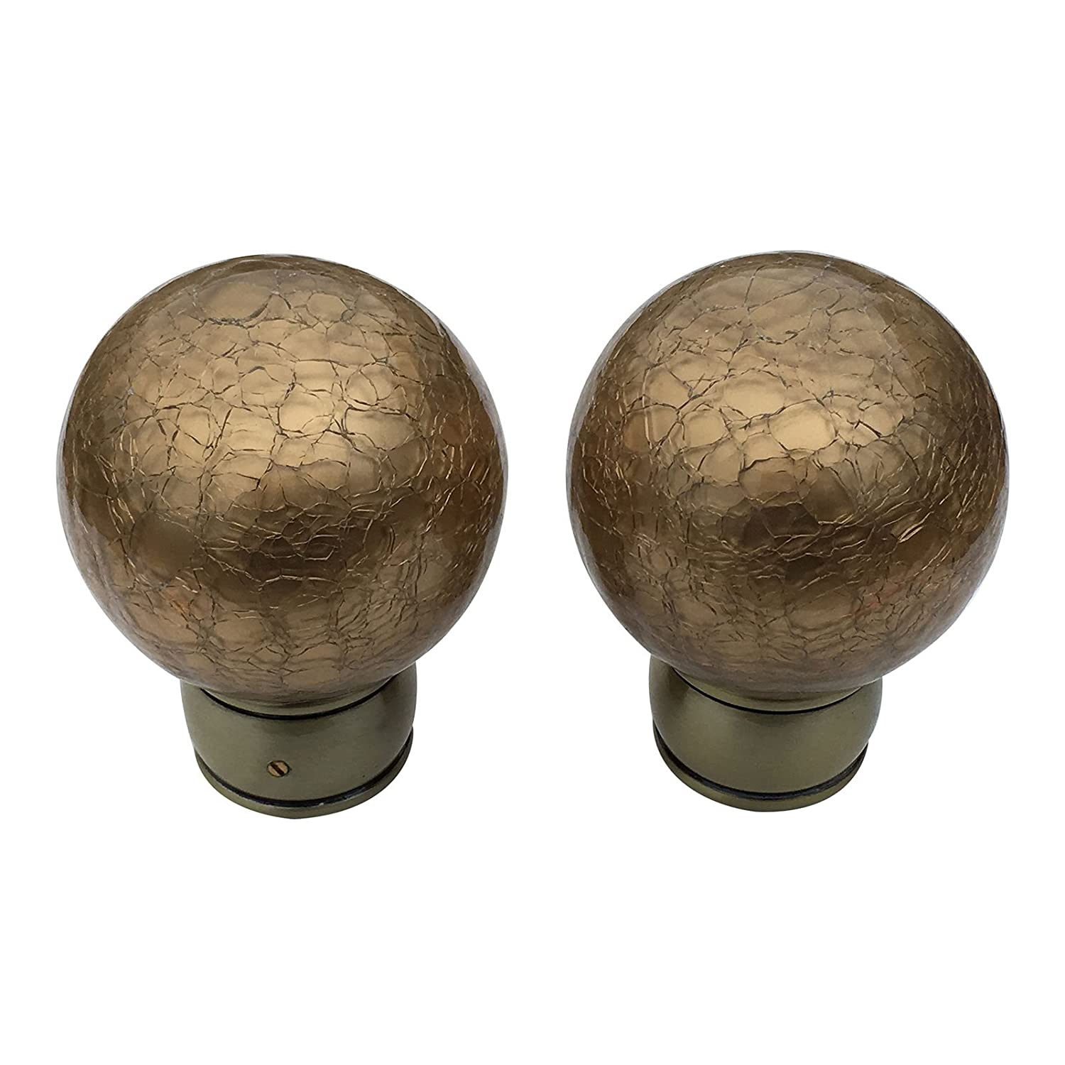 Finials For 35mm Curtain Pole Gold Crackled Effect Glass Ball & Brass Kirsch.