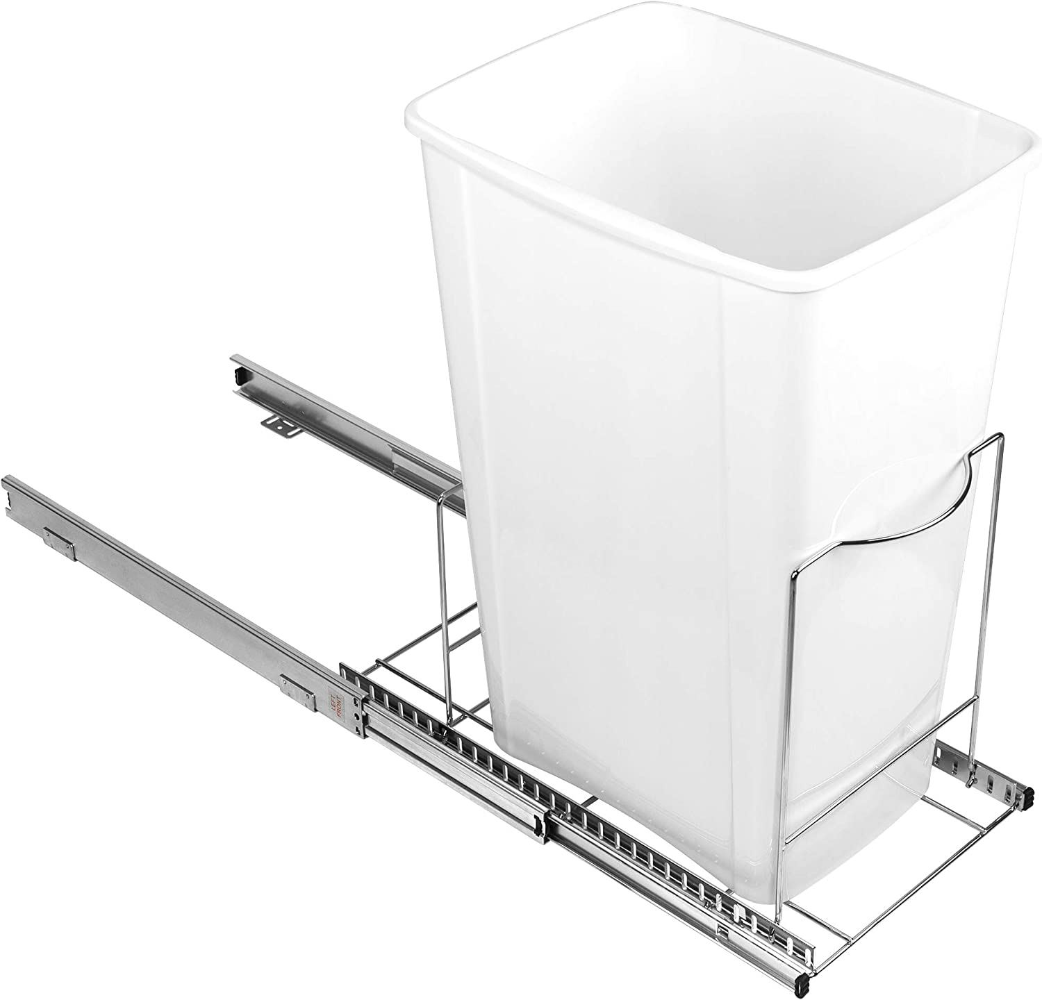 """Richards Homewares Pull Out Trash Adjustable Roll Out Sliding Garbage Bin Shelf for Kitchen Cabinets 10.6""""H x 22""""W x 19.25""""D – Accommodates One or Two Waste Cans (not included) 9-7/8""""W – 17""""L, Black"""