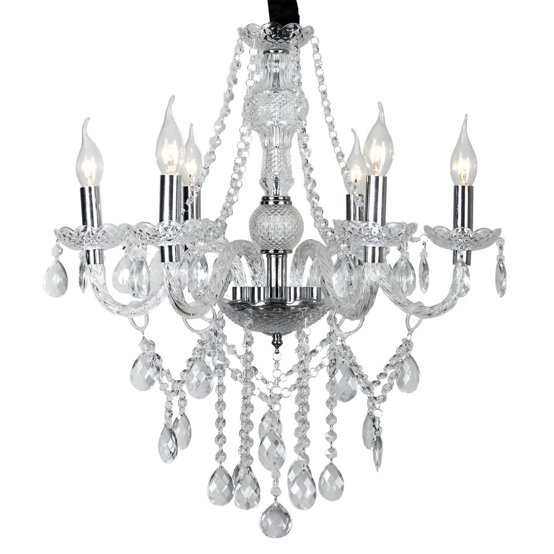 6-flammig LeMeiZhiJia 6-flammig Kronleuchter vintage modern L/üster deckenleuchte Pendelleuchte Transparent Kristall-Wohnzimmer,Esszimmer,Schlafzimmer