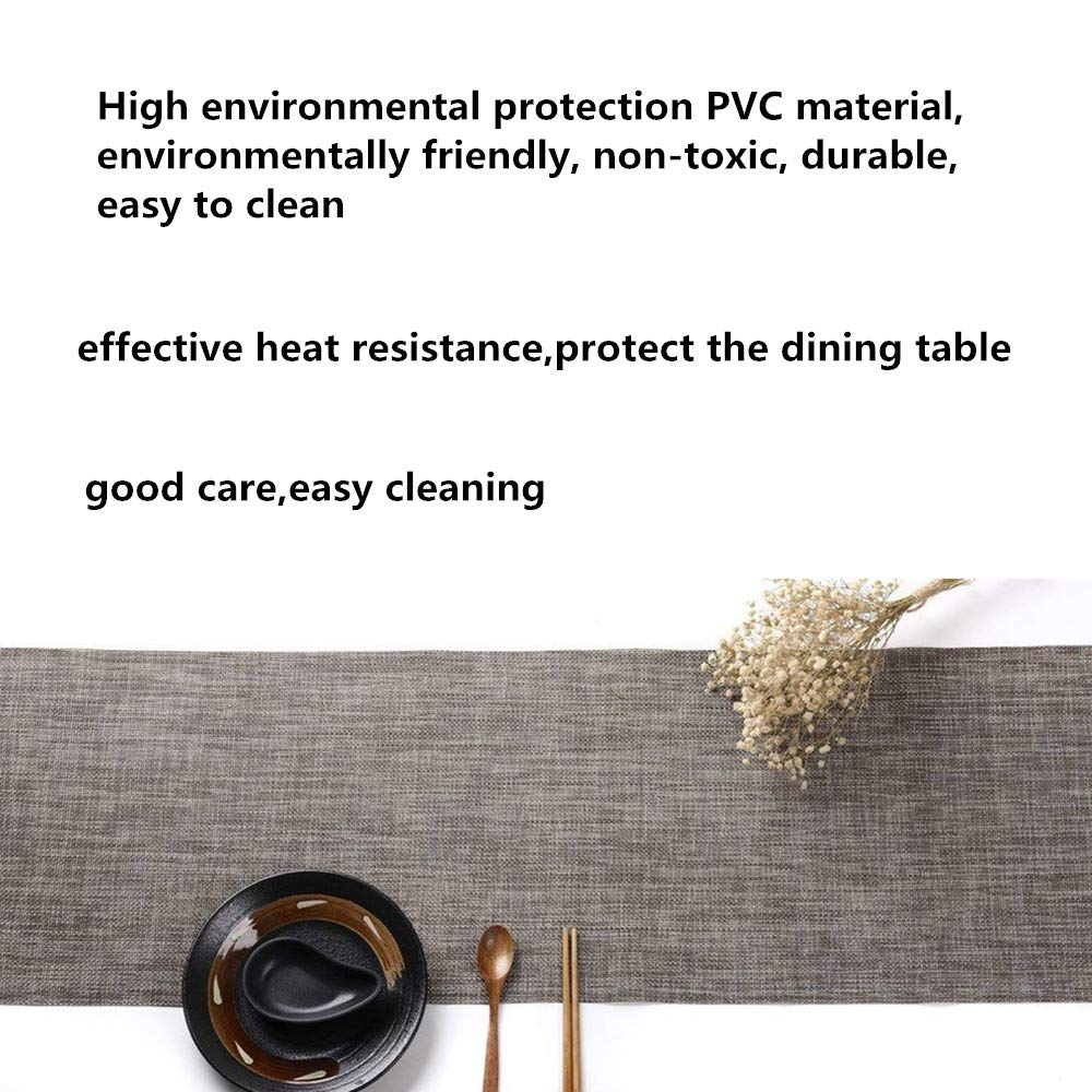 BBSJN Table Runner Woven Vinly Table Placemats Heat Resistant Table Linen for Kitchen Dining Table Decoration Daily Used 12 x 88.6, Jam Orange