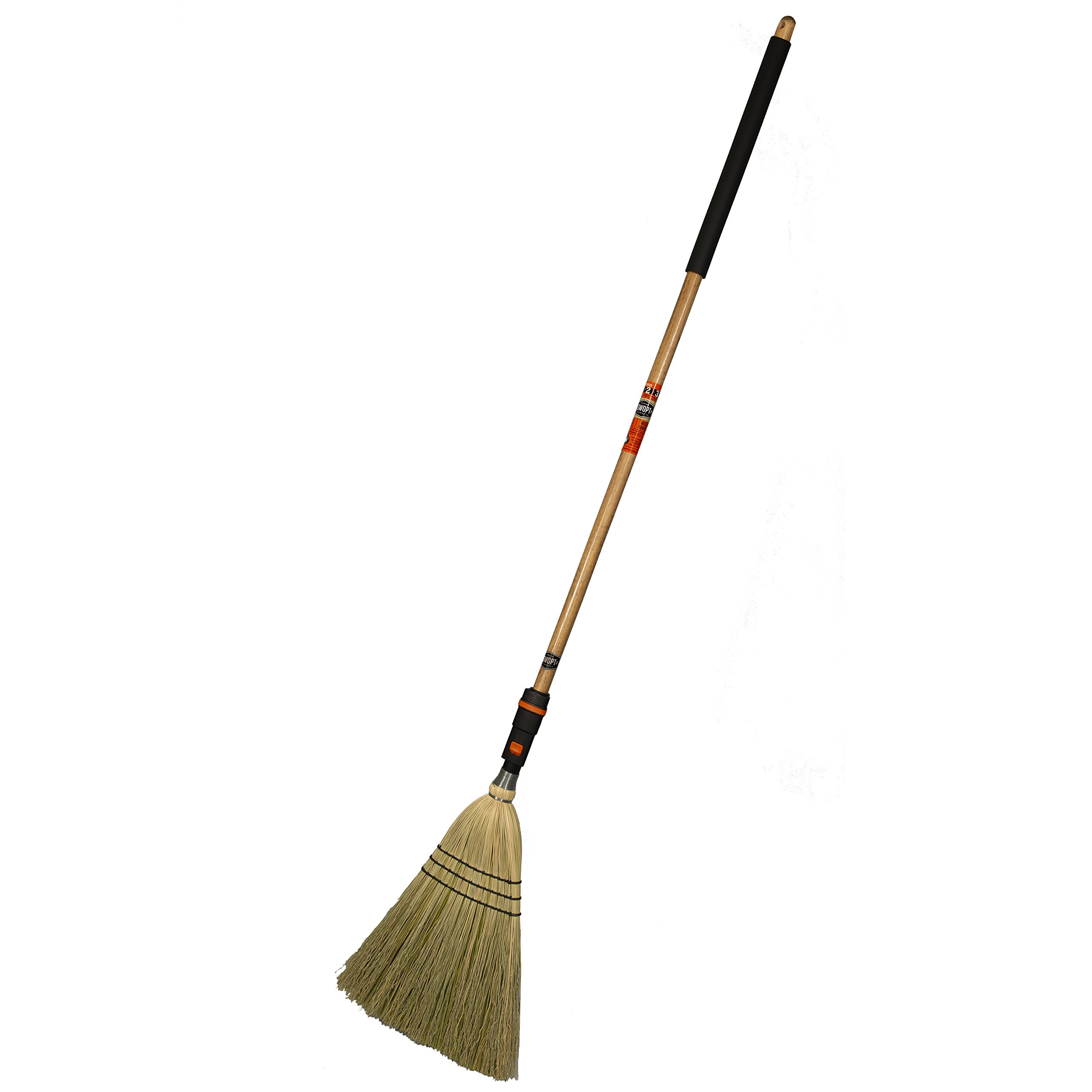 SWOPT Heavy-Duty Corn Broom – 48'' Comfort Grip Wooden Handle – EVA Foam Comfort Grip for Stability & Comfort – Handle Interchangeable with Other SWOPT Products – Indoor & Outdoor Use