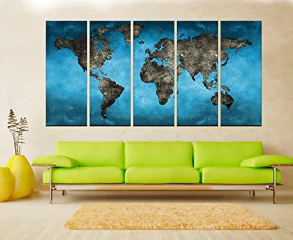 Large World Map Framed.Amazon Com Large World Map Wall Art Canvas For Living Room Blue