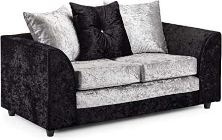 Honeypot Sofa Harley 3 + 2 Seater Corner Sofa Footstool Crushed Velvet (BlackSilver, 2 Seater)