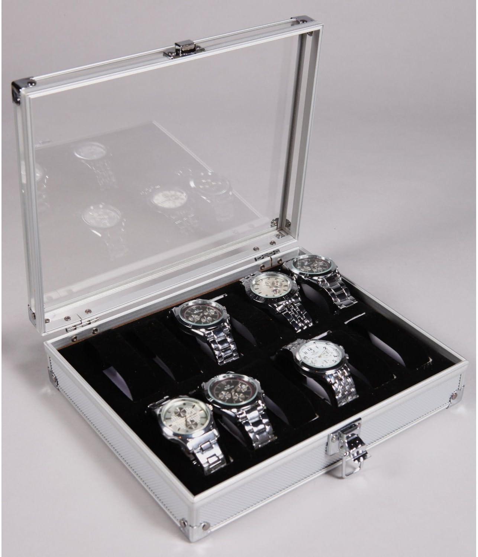 Caja de aluminio, expositor con tapa de metacrilato, para 12 ...