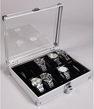 Caja de aluminio, expositor con tapa de metacrilato, para 12 relojes, color plateado: Amazon.es: Hogar