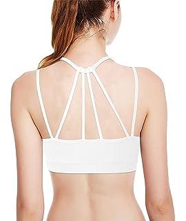 9163f7f334096 DeepTwist Womens Strappy Back Yoga Dance Padded Bralette Medium Impact  Sports Bra