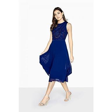 Little Mistress Womens/Ladies Zara Beadwork Midi Prom Dress (4 US) (Navy