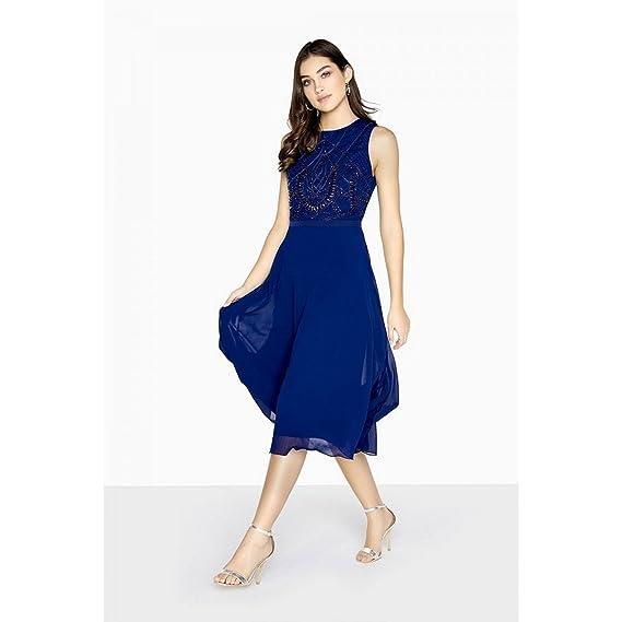 Little Mistress Womens/Ladies Zara Beadwork Midi Prom Dress (10 UK) (Navy