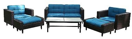 Surprising Ae Outdoor 6 Piece All Weather Wicker Wright Deep Seating Sofa Set With Sunbrella Fabrics Uwap Interior Chair Design Uwaporg