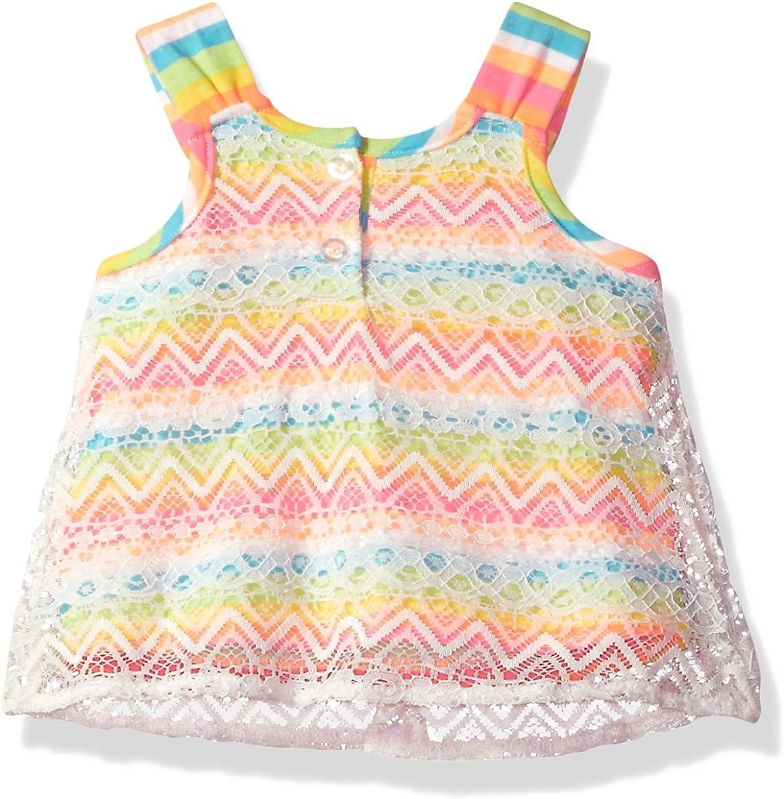 Little Lass Baby Girls 2 Pc Chevron Lace Short Set