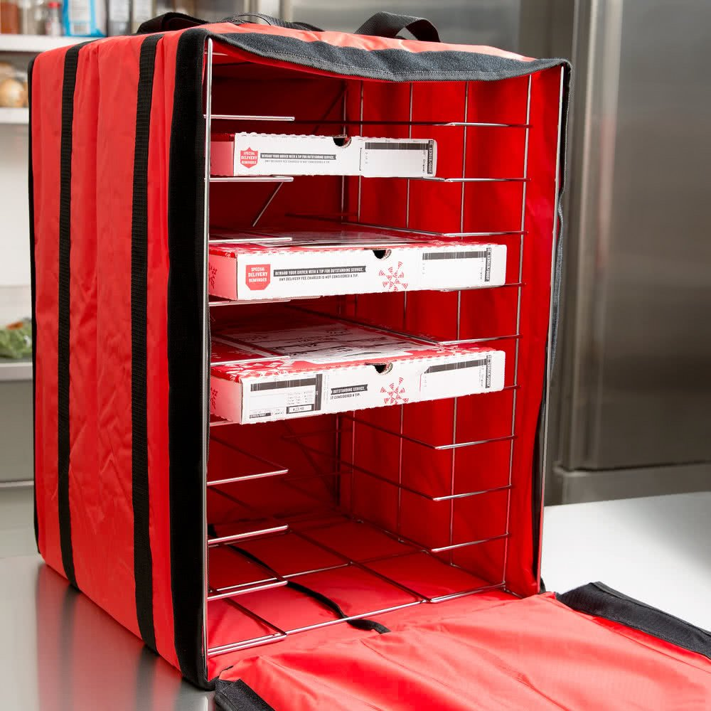 American Metalcraft PB1926 19'' x 19'' x 27'' Deluxe Insulated Red Pizza Delivery Bag with Rack