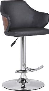 Armen Living Aaron Mid-Century Faux Leather Swivel Kitchen Counter Barstool, Adjustable 36. 5-45