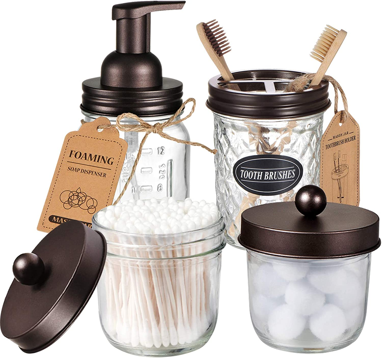 Mason Jar Bathroom Accessories Set(4 Pack) - Foaming Soap Dispenser&Qtip Holder Set&Toothbrush Holder-Rustic Farmhouse Decor Bathroom Organizer Apothecary Jar Country Countertop (Bronze)