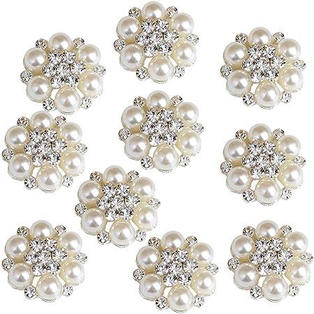 10 Rhinestone Pearl Flatback Craft Wedding Embellishments Scrapbook Buttons