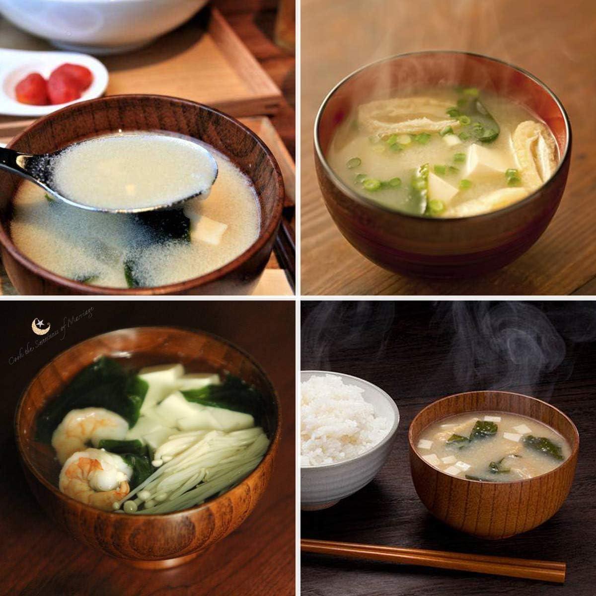 apto para veganos sopa caf/é salsa 4 unidades t/é Cuenco de madera para desayuno decoraci/ón
