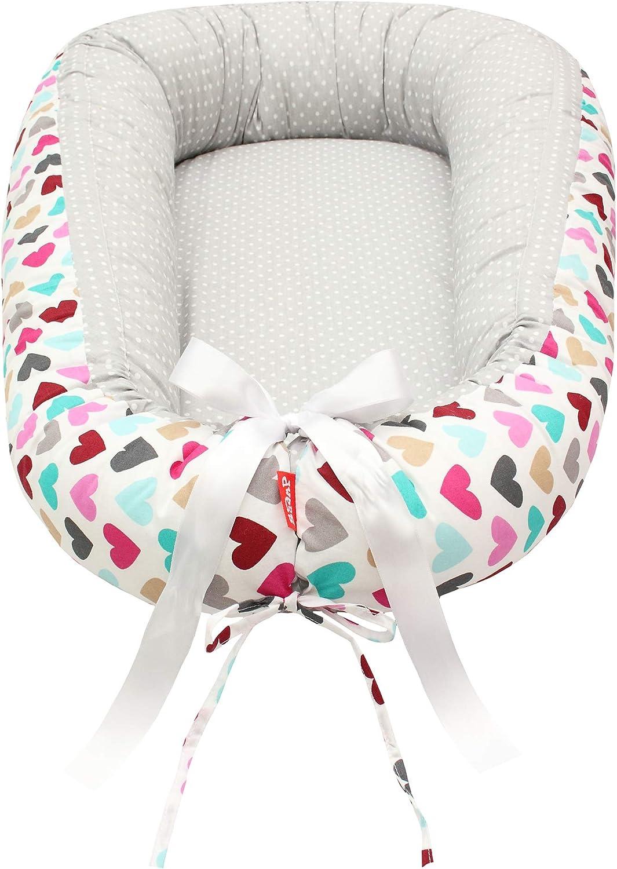 Scamp de 29,9 EUR Premium Babynest para bebés, bebés, bebés, cuna de viaje, antialérgica, 100% algodón, Öko-Tex 100 Standard, con colchón de espuma (Colorful Hearts Grey 2)