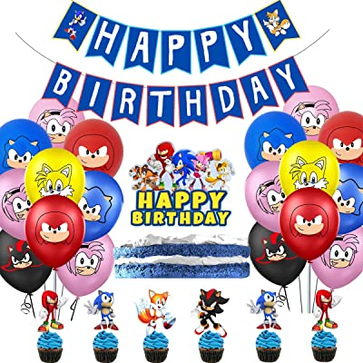Birthday Party Supplies Including Banner-Cake top hat-20 Cake top hat-20 Balloons for Sonic The Hedgehog Blue: Clothing