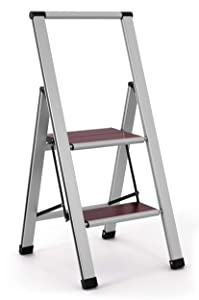 3.02' Brushed Aluminum/Wood Lightweight 2 Step Ladder