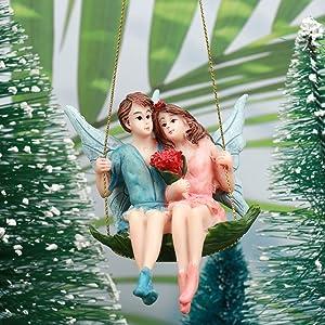 XIDAJIE Fairy Garden Fairies Figurine - Boy and Girl Sitting On Swing Fairy Decorative Statue Garden Accessories for Fairy Garden Kits and Houses