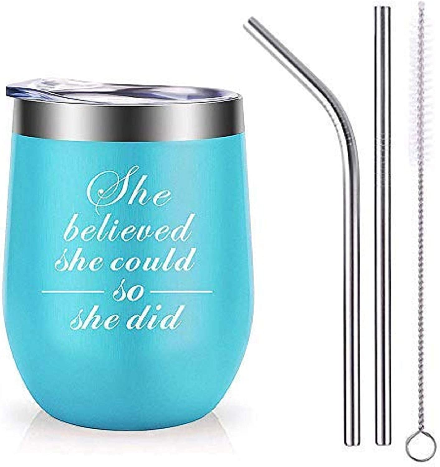 MJartoria Gifts for Women-12 OZ She Believed She Could So She Did Wine Glass Mug Tumbler with Lid Stainless Steel Straw Brusher Funny Congratulations Birthday BFF Gifts for Friends