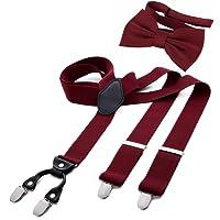DonDon Herren 3,5 cm breiter Hosenträger in Y-Form elastisch und verstellbar im 2er Set mit farblich passender Fliege 12 x 6 cm