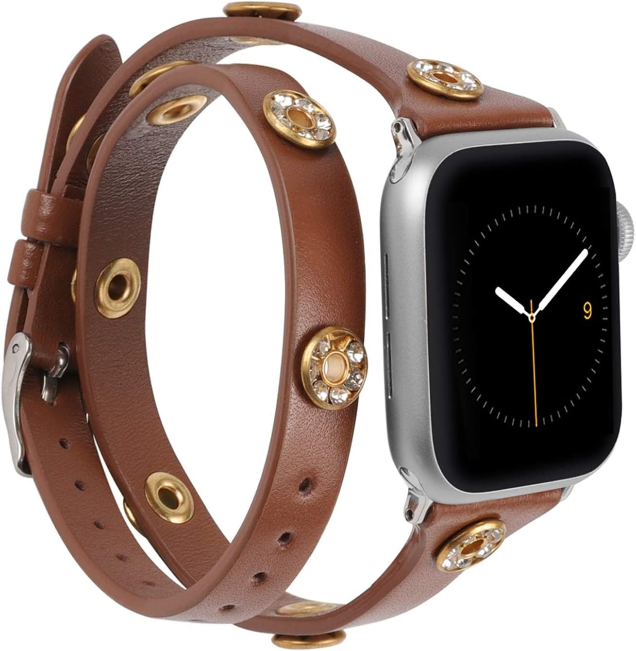 Moolia Compatible with Apple Watch Bands 44mm 42mm Women, Slim Double Wrap iWatch Bands with Bling Studs Straps Bracelet Accessories for Apple Watch Band Series 6/SE/5/4/3/2/1, Grey Floral