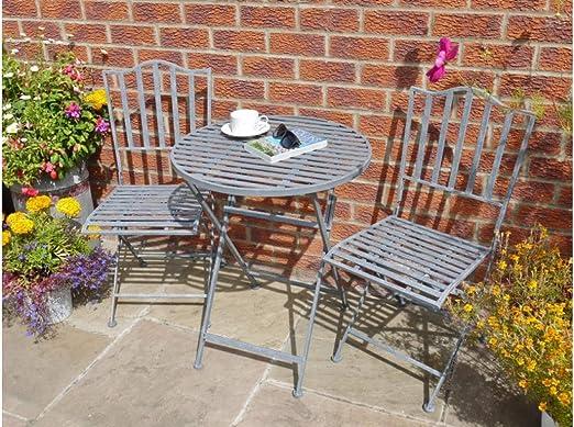 Desconocido Juego de Mesa Redonda de Estilo Industrial rústico Gris metálico Plegable y Dos sillas de jardín: Amazon.es: Jardín